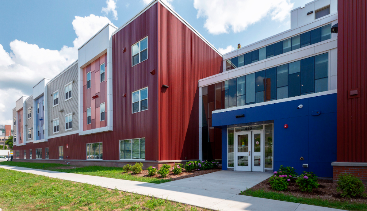 Fiber cement and metal panel cladding for Freedom Commons