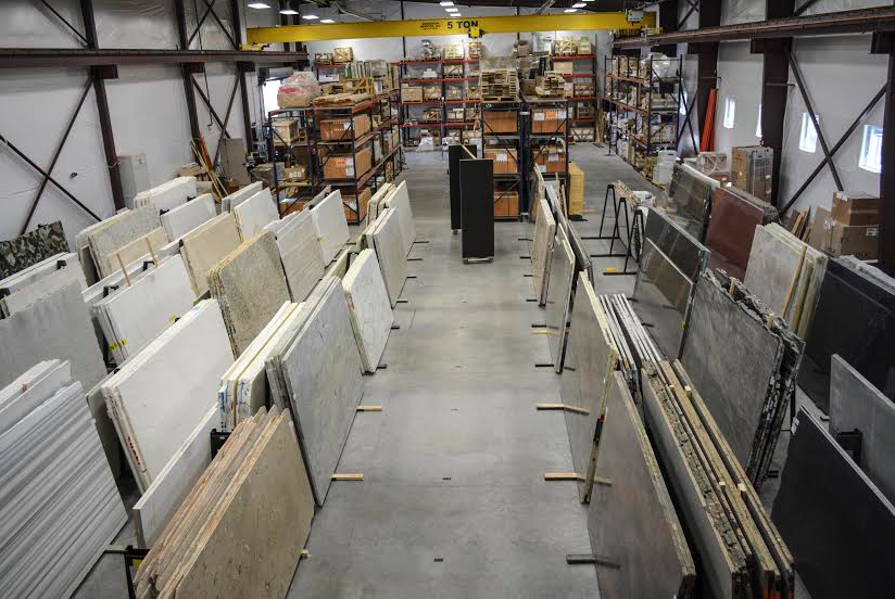 Granite and marble slabs are fabricatedin a facility near the Earth Elements showroom