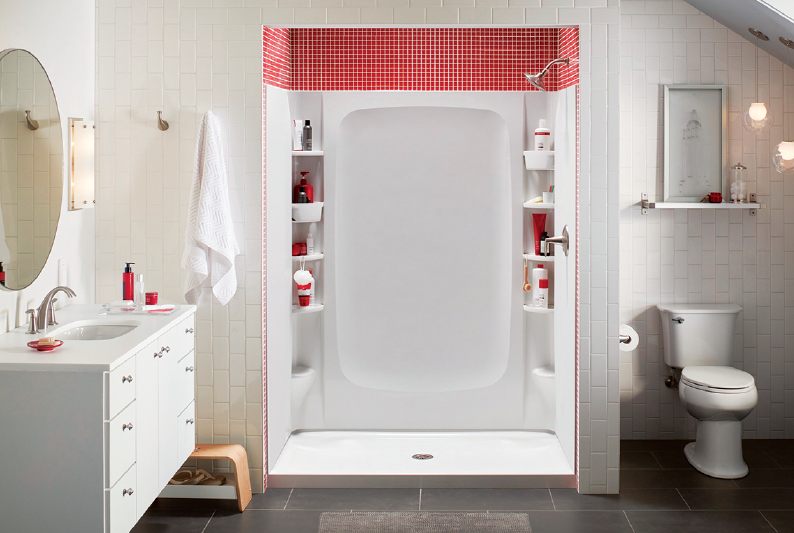 channeled water containment system to prevent leaks the unitu0027s available sizes include 60 by 30 inches and 60 by 32 inches in white or kohler biscuit