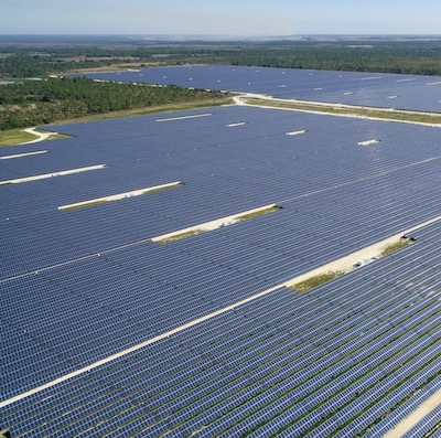 Aerial view of solar farm
