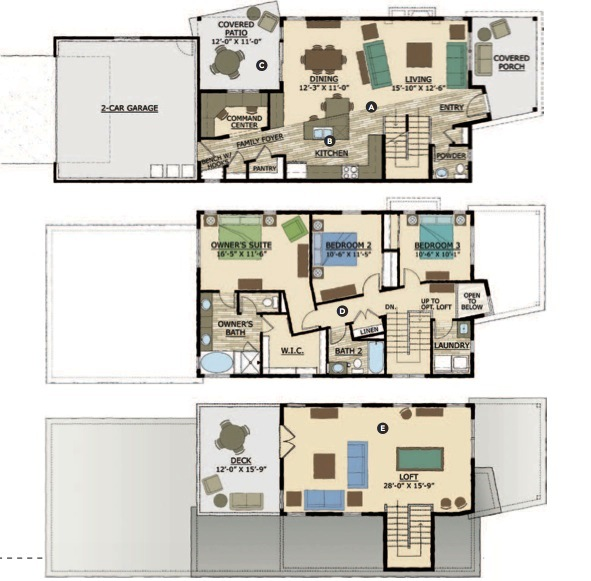 marvelous infill home plans #1: A. Open living area blurs the edges between dining, living, and cooking  spaces. These overlapping spaces allow the plan to live large.