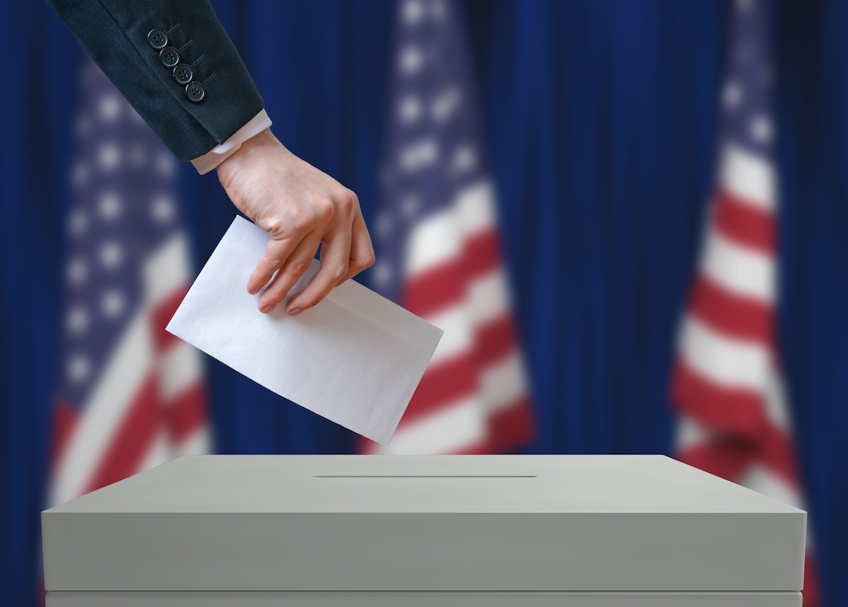 Person dropping ballot