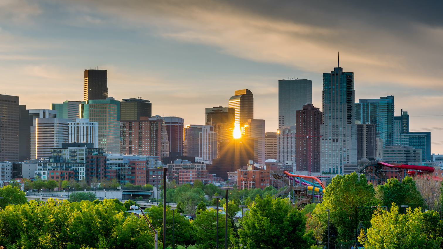 Sunset view of Denver, Colorado