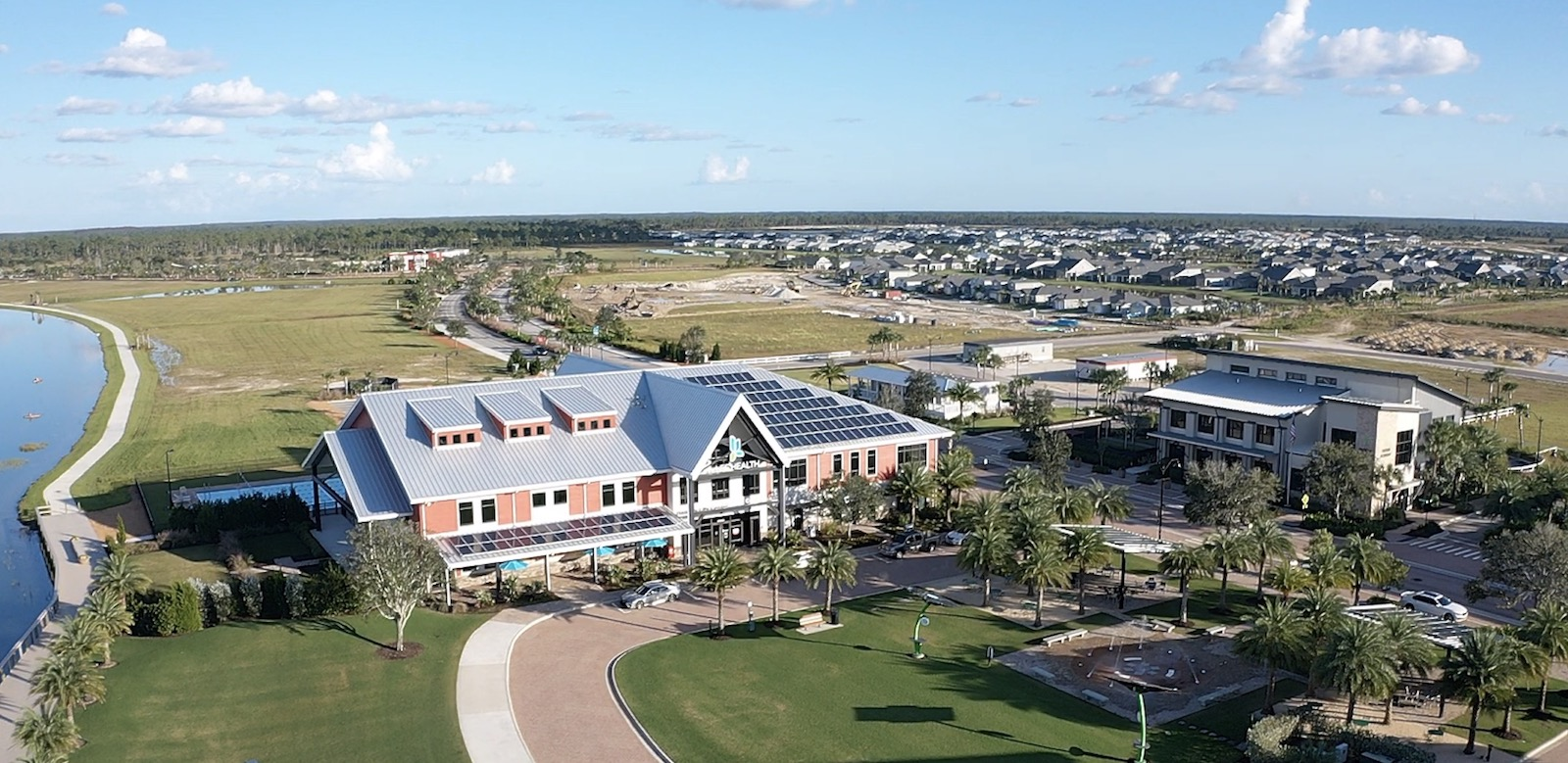 Aerial view of Florida's Babcock Ranch solar energy community