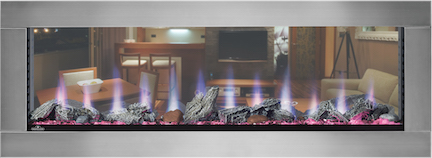 Clearion see-through electric fireplace by Napoleon