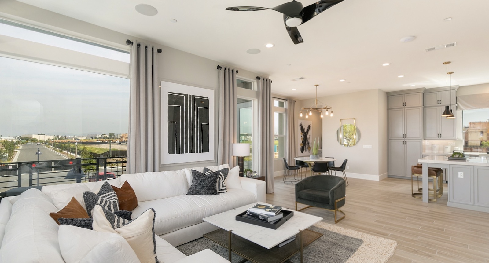 Interior living space at Evergreen at Rise by Dahlin Group