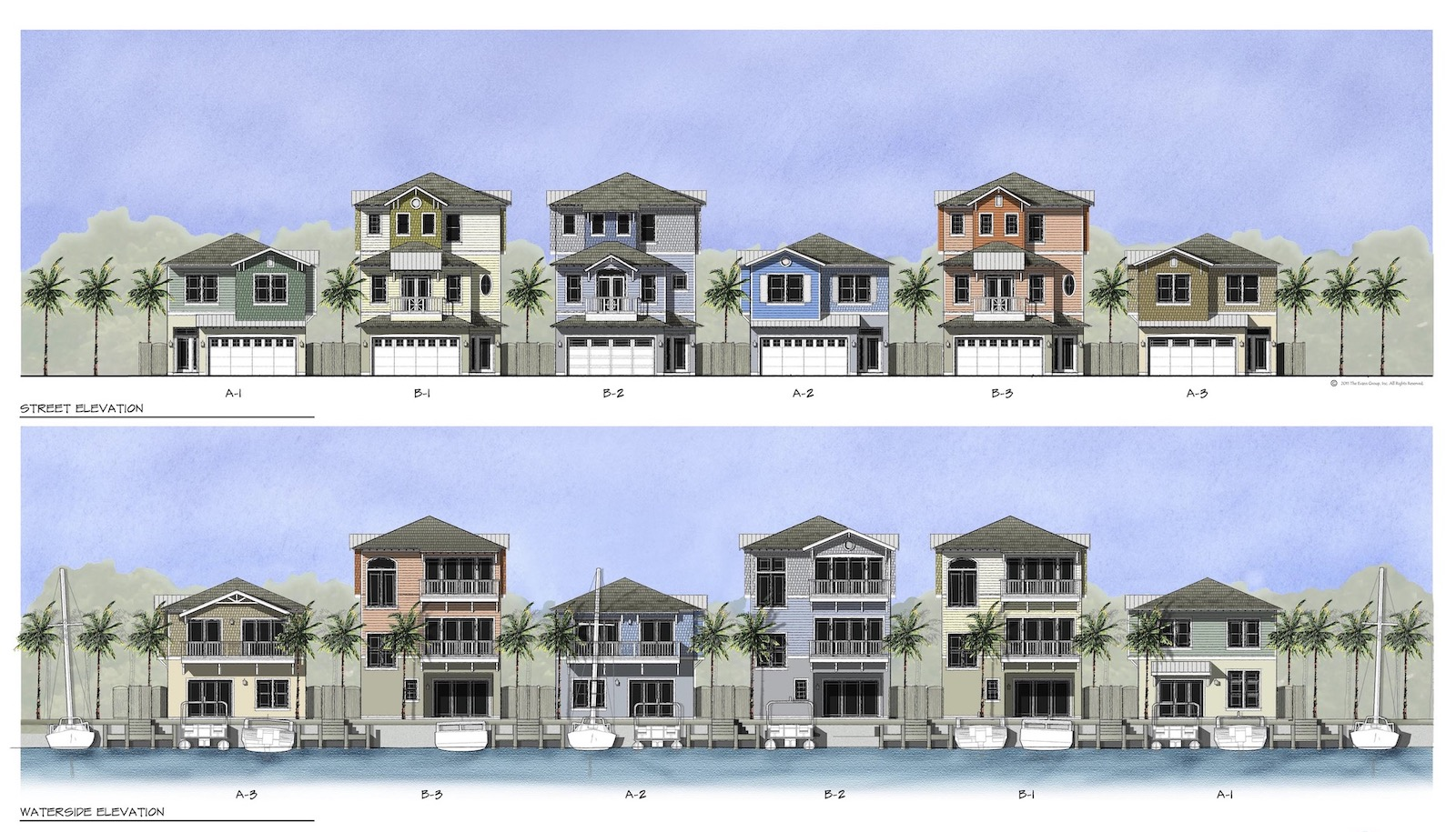 Exterior elevations of Sunset Inlet designed by The Evans Group