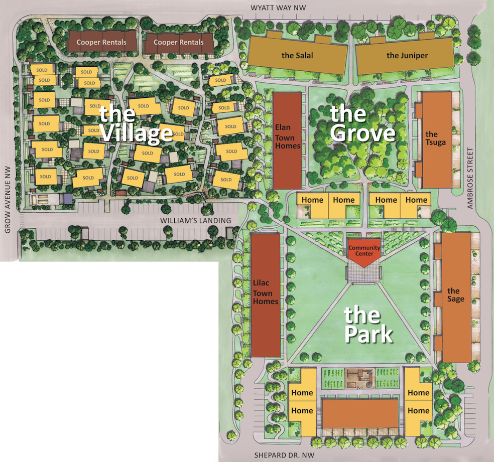 Phase one plan of Grow clustered single-family homes