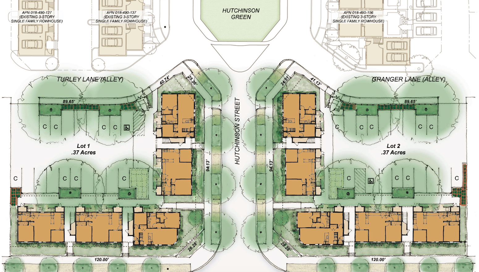 Site plan for Hutchinson Green Apartments, Chico, Calif.