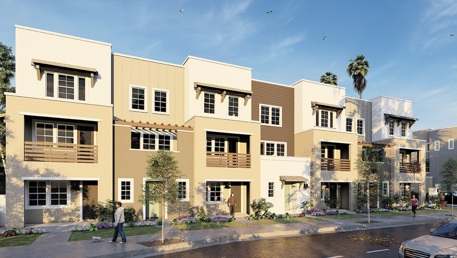 Three-story townhomes designed by Kevin L. Crook Architect, exterior facade