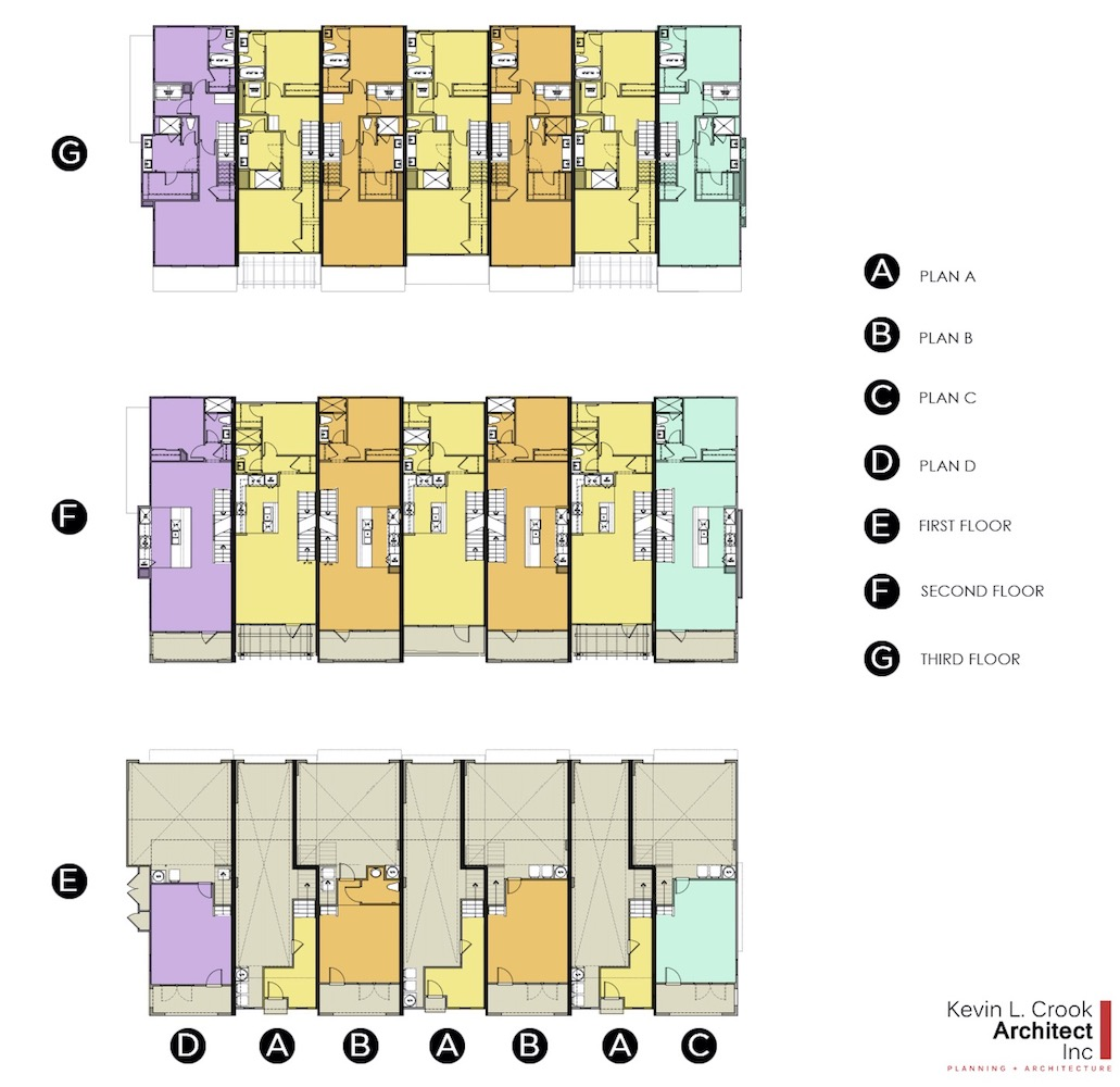 Three-story townhomes floor plans designed by Kevin L. Crook Architect