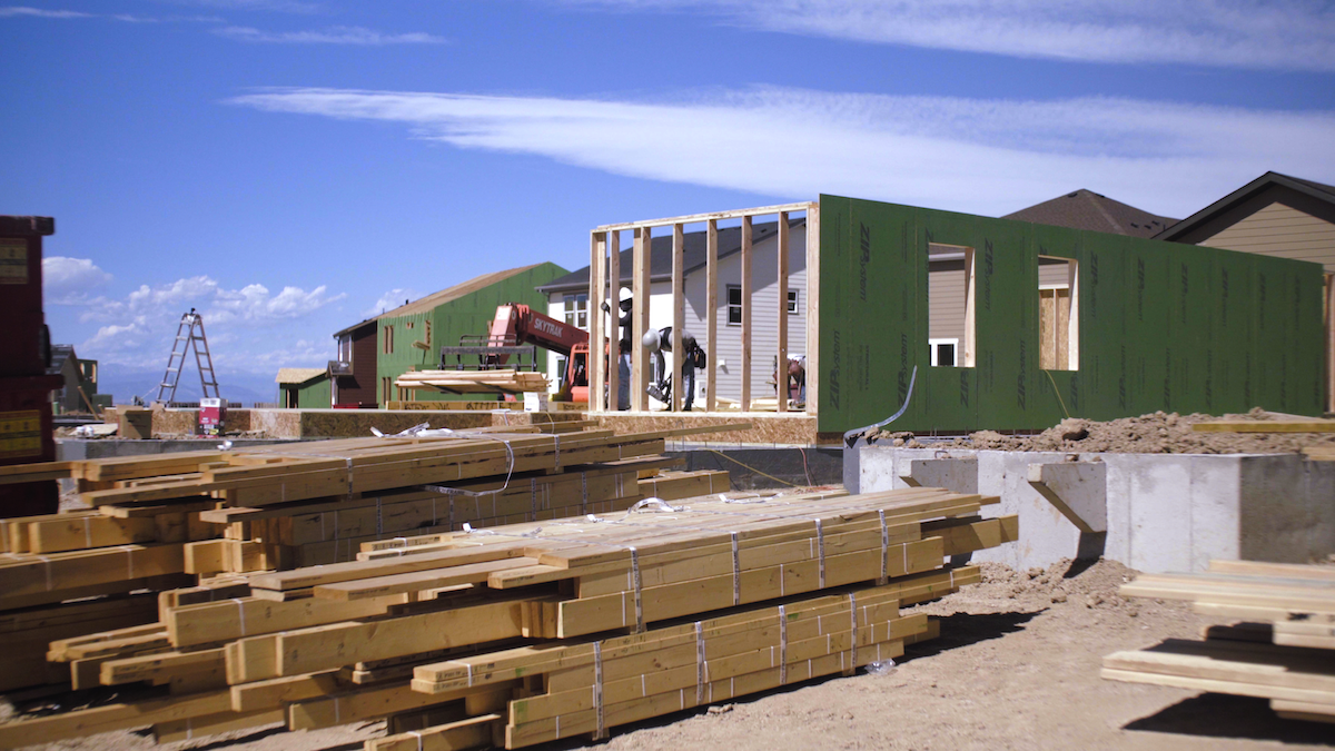 Ready-Frame package on the jobsite reduces framing time and lumber waste