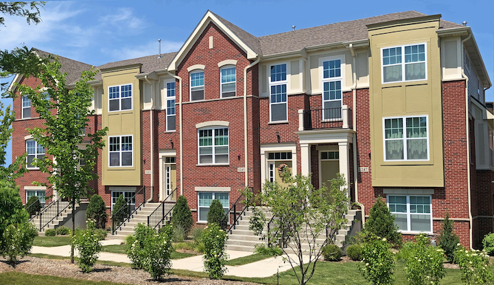 Streetscape of Lexington Row, townhomes by Lexington Homes