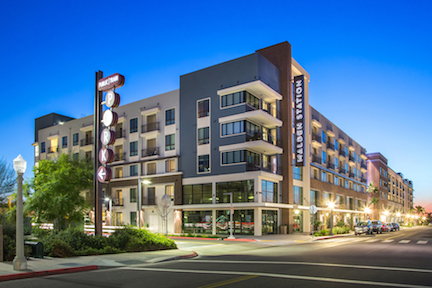 Exterior of Malden Station mixed-use community in Fullerton, Calif.