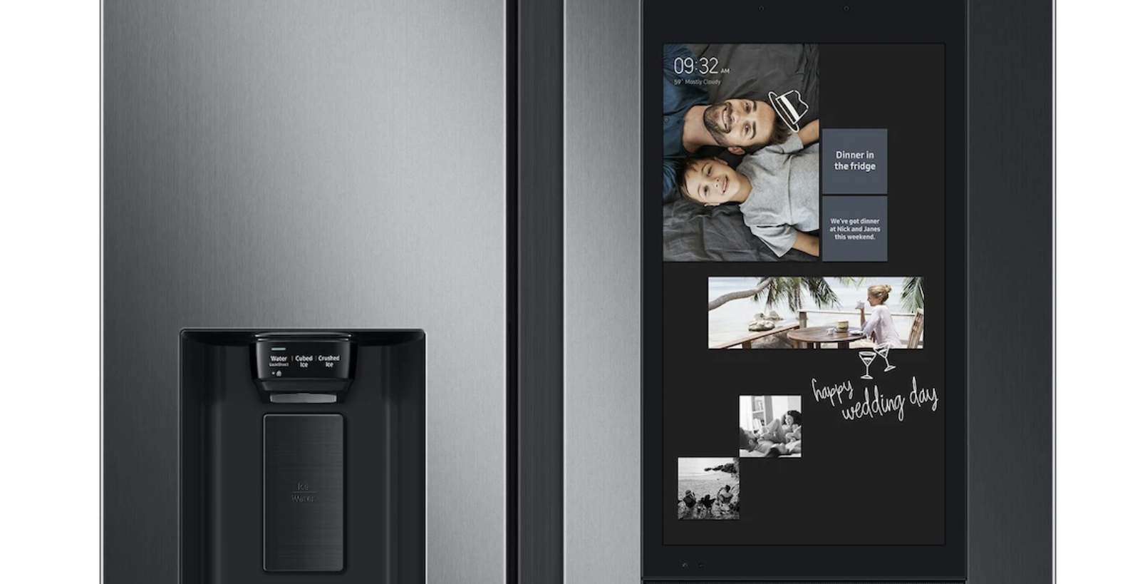 Close-up view of Samsung's Family Hub refrigerator door with screen and smart technology
