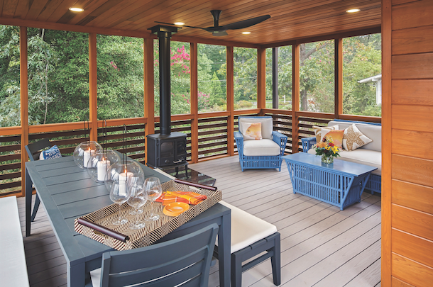 2013 professional builder design awards pro builder for Wood burning stove for screened porch
