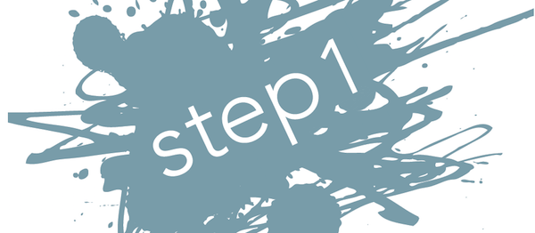 "messy blue-gray ink splotch that says ""step 1"""
