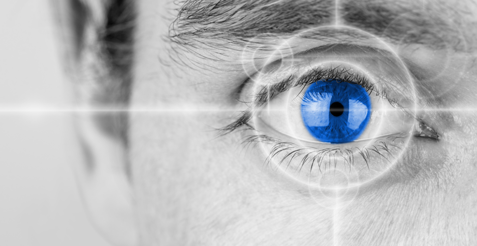 High-tech augmented human eye seeing more and better