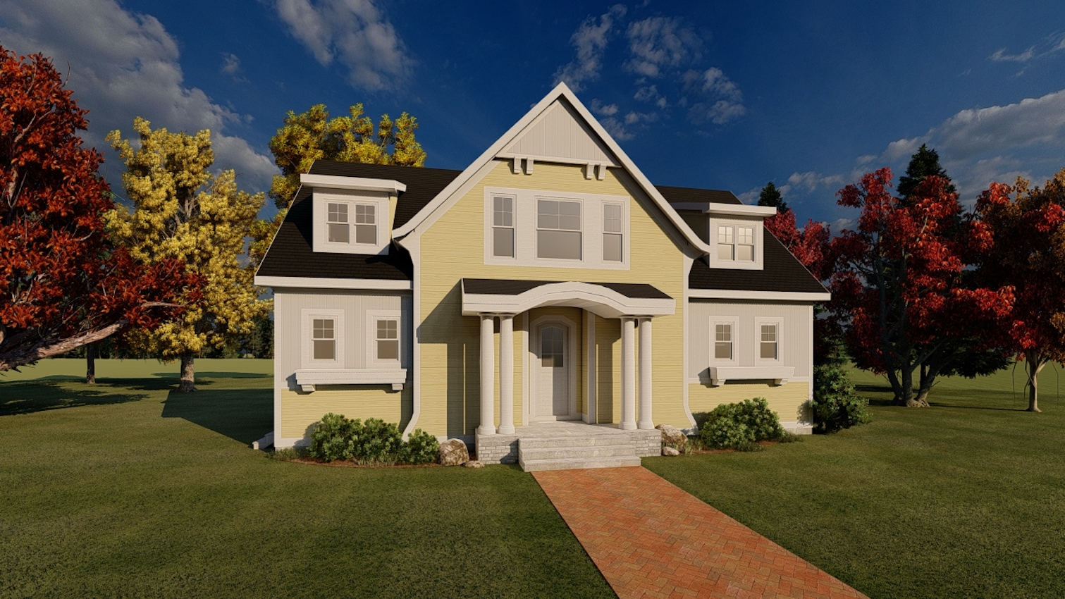 Rendering of the exterior of TK Design & Associates' Brianna design, which features a small footprint but plenty of space