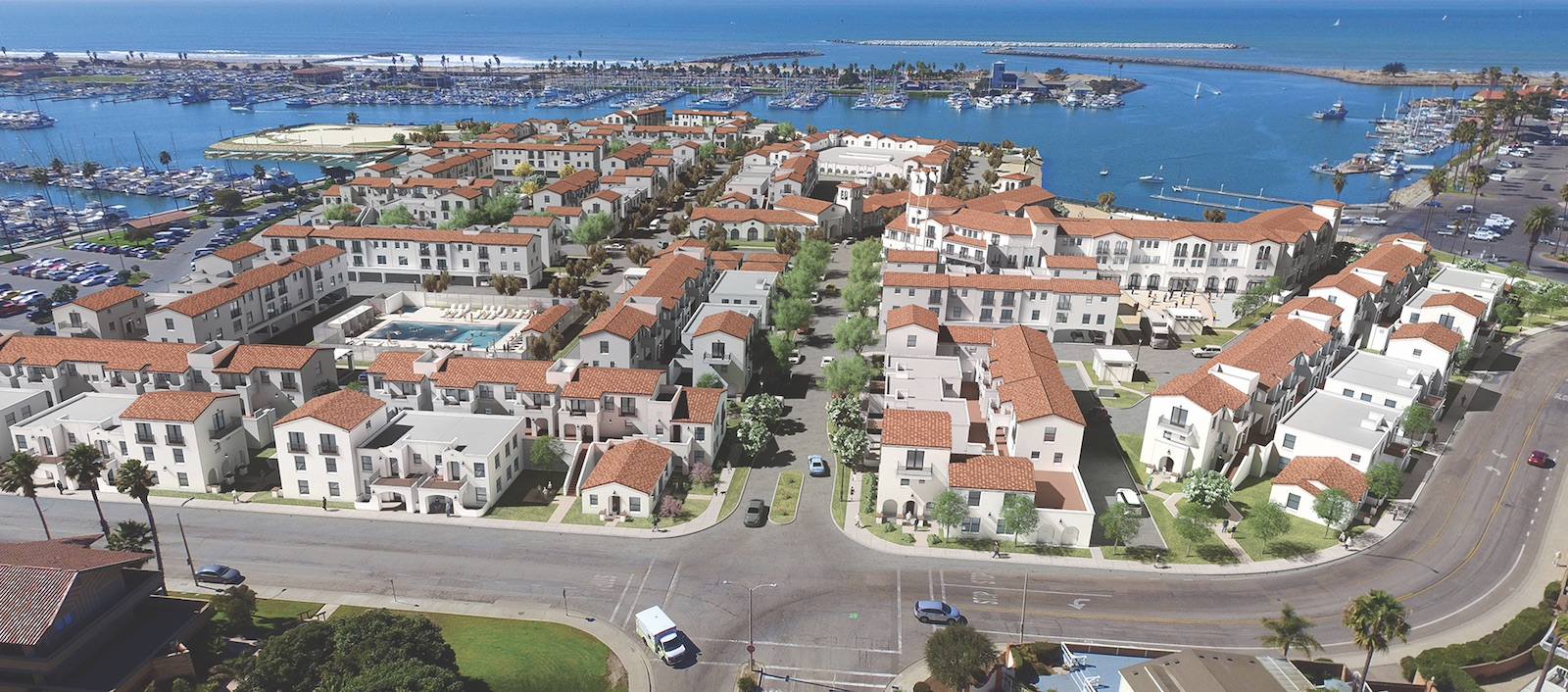 Aerial view of TSM's Portside Ventura Harbor Townhomes