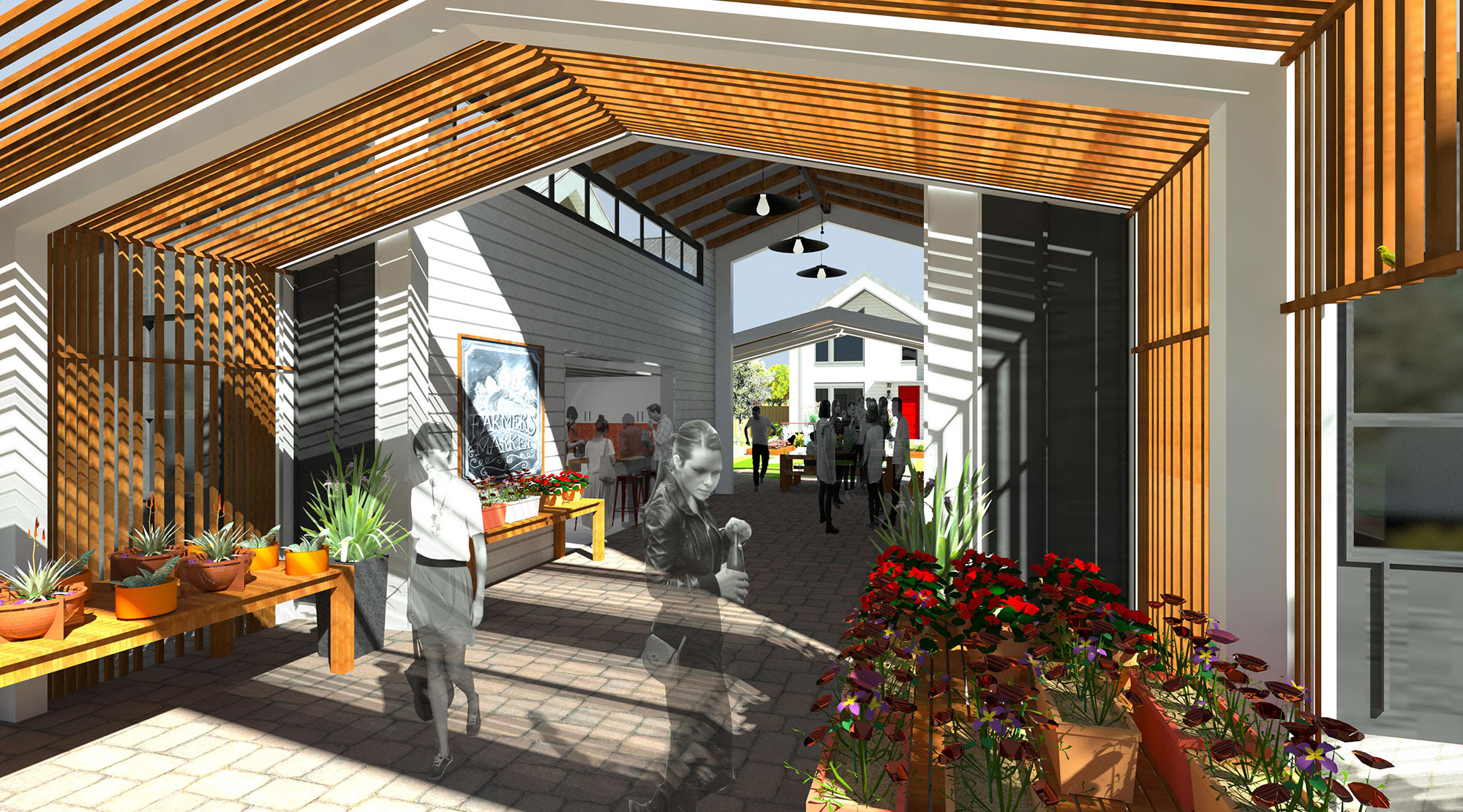 Rendering of breezeway of Commons Building at The Patch; people browsing aisles of produce