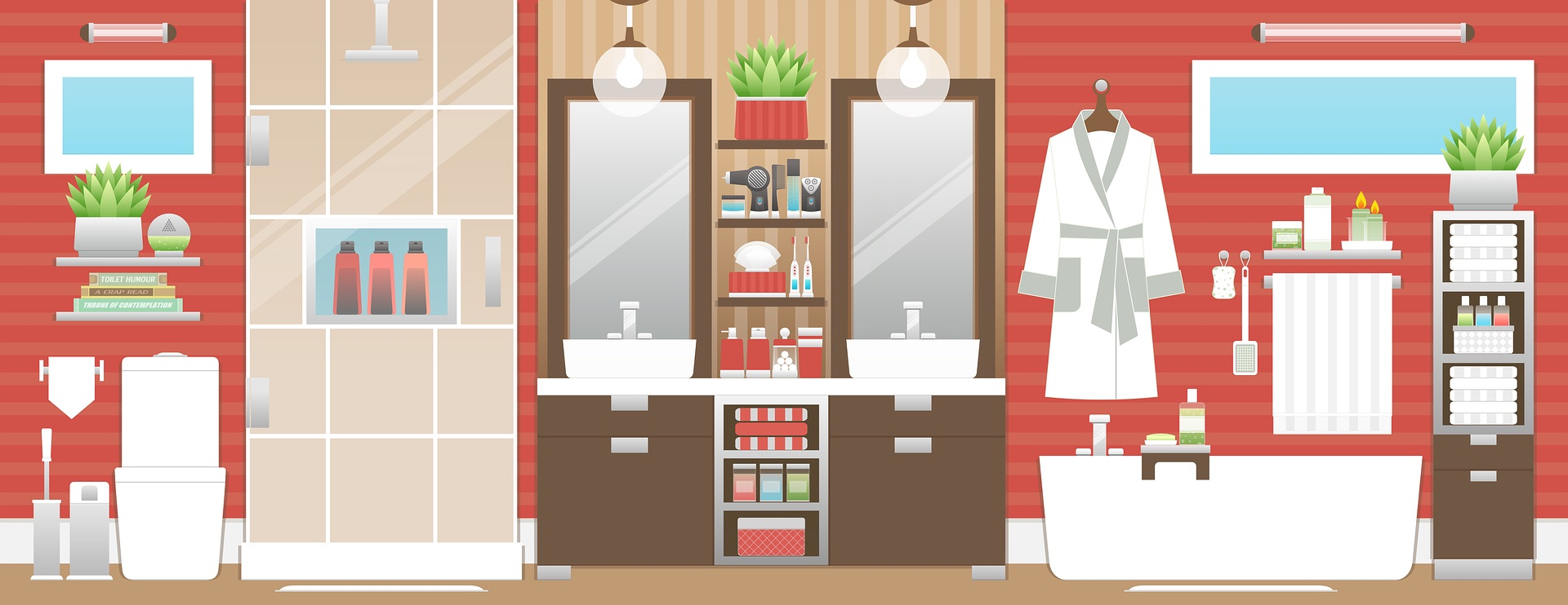 Bathroom interior illustration
