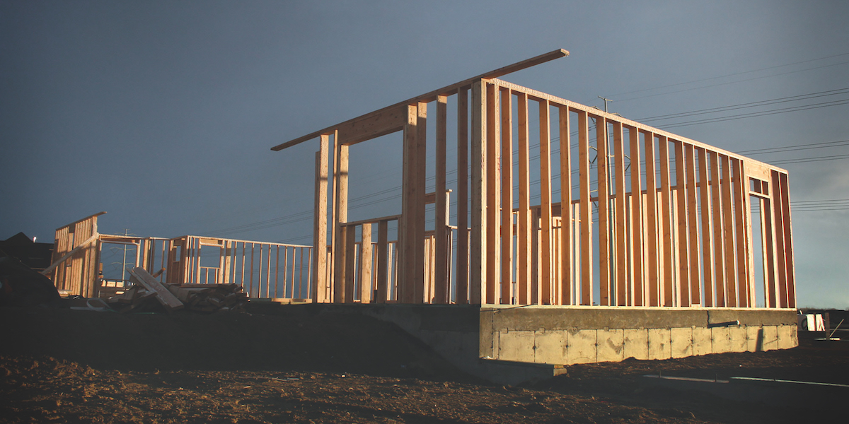 Timber frame house under construction