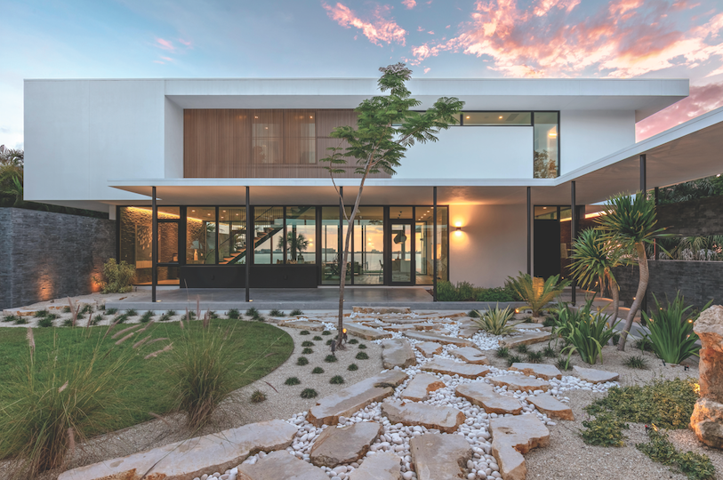 2019 Professional Builder design awards Project of the Year exterior with view through to water