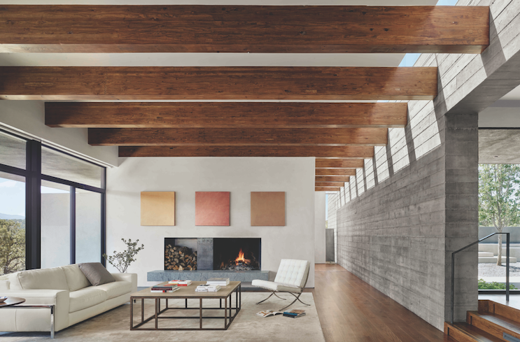 2019 Professional Builder Design Awards Gold Custom Home interior with wood ceiling beams