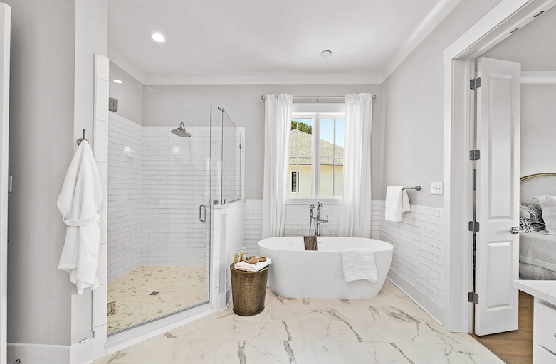 2019 Professional Builder Design Awards Silver Single Family 2001 to 3100 sf light and airy bathroom