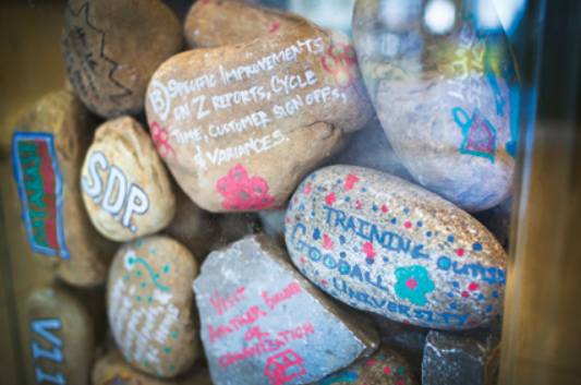 Goodall Homes-company goals written on rocks