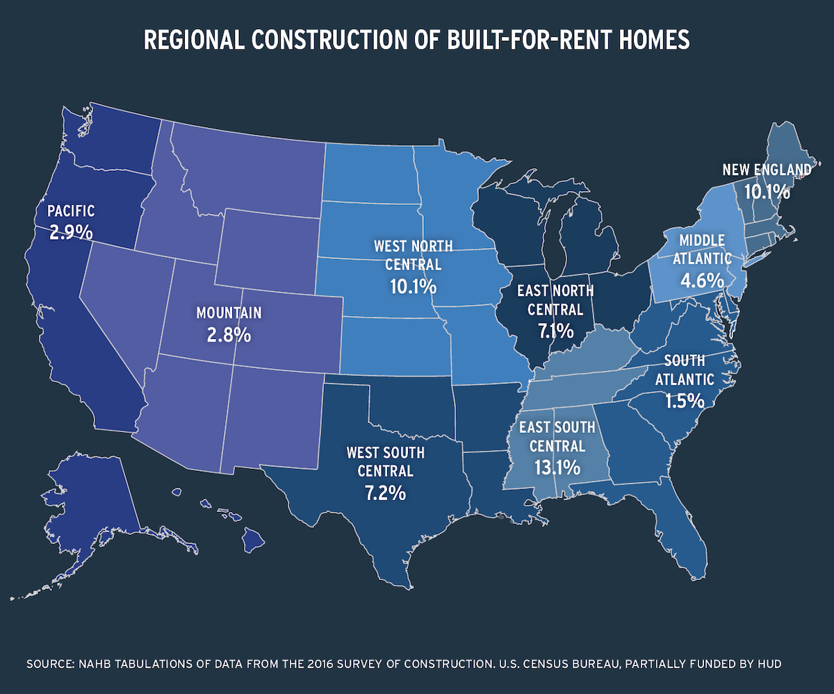 US map of regional construction of built-for-rent homes