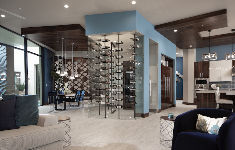 The New American Home 2020 wine rack and dining room