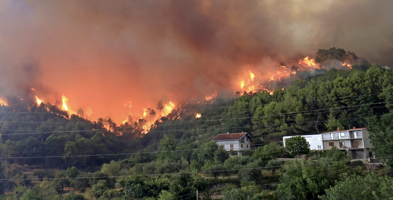 forest fire threatening homes