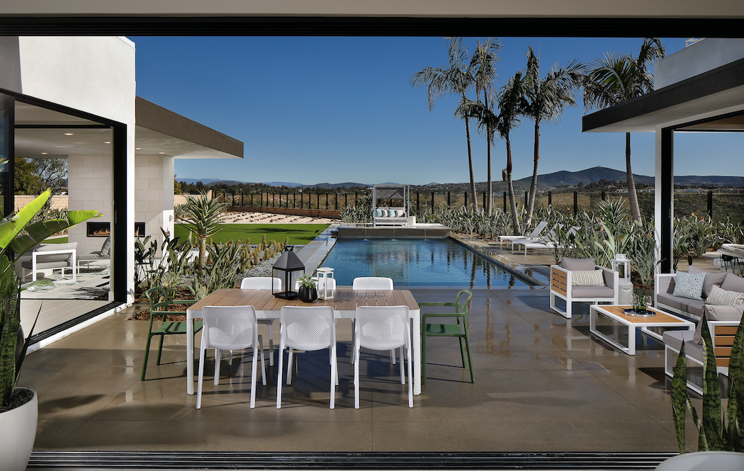 Pardee Homes' Vista Santa Fe model outdoor living with pool