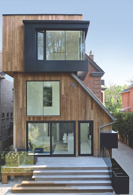 Thermory modified wood used as cladding on home exterior