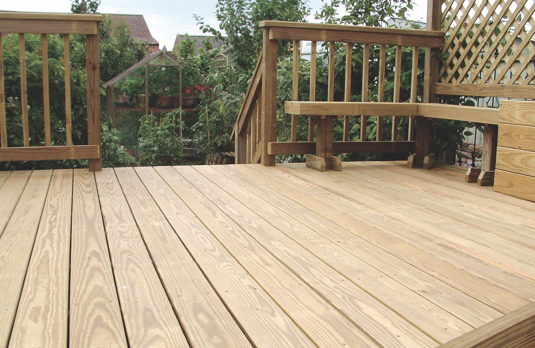 southern pine wood decking installed on a single family home
