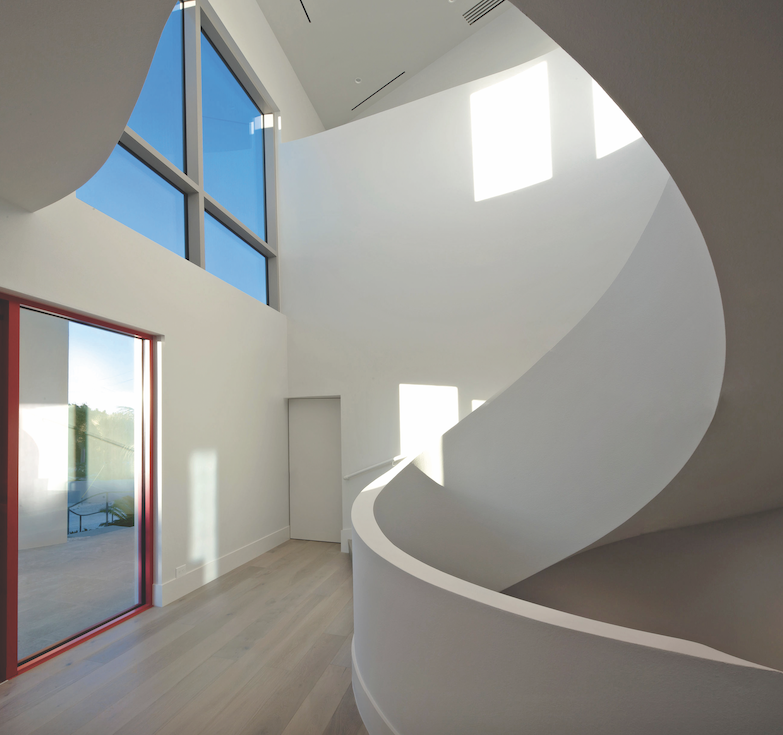 2019 professional builder design awards detail sculptural staircase in Florida custom home