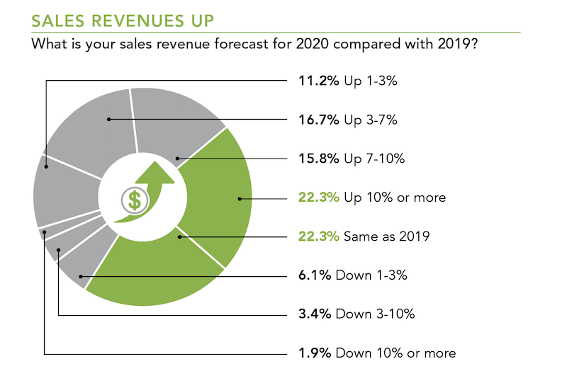 sales revenue forecast for 2020 compared with 2019