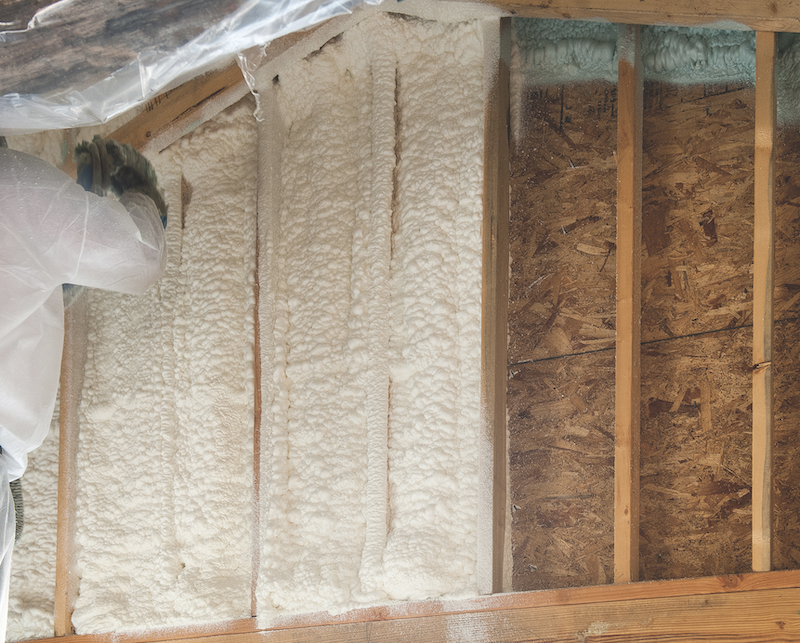 BASF Enertite open-cell spray foam insulation being installed