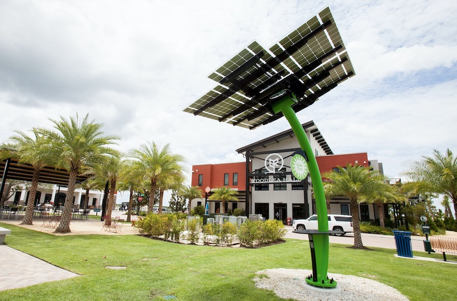 Babcock Ranch solar trees supply solar energy to this Florida community.