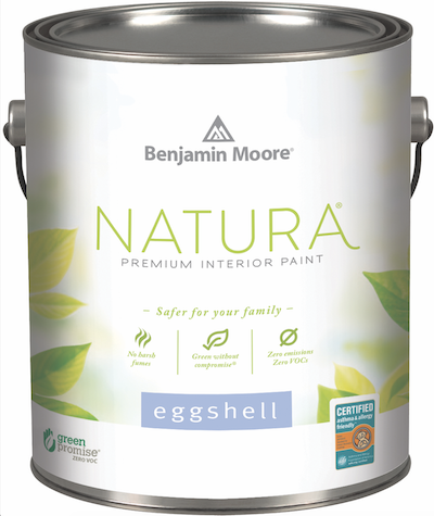 can of Benjamin Moore Natura emission-free acrylic paint