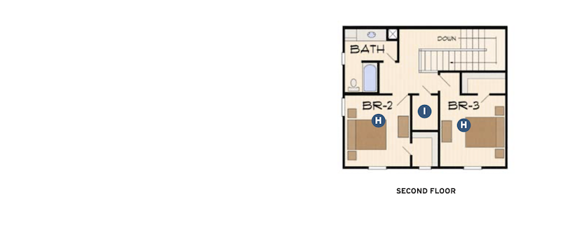 second-floor plan of the Blue Ridge by Larry Garnett Designs
