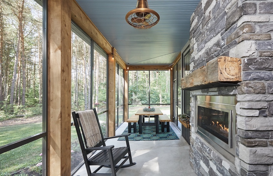 Calming blue for porch and kitchen