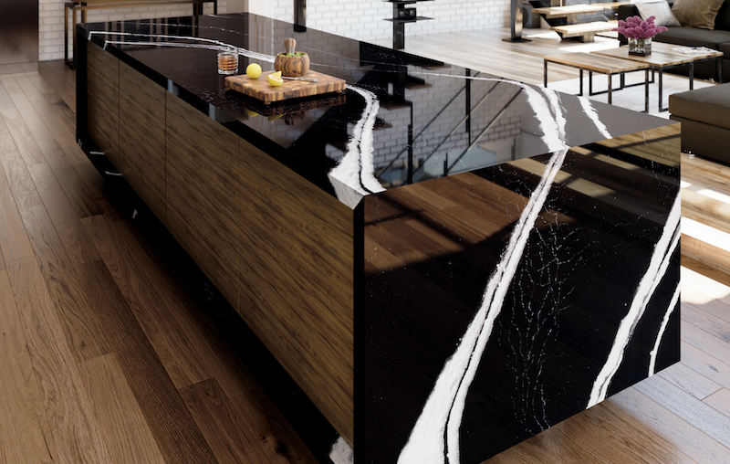 Cambria Mersey black quartz countertop with white veining