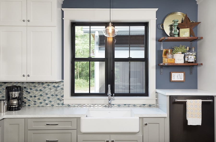 Craftsman-style home with blue hues in the kitchen