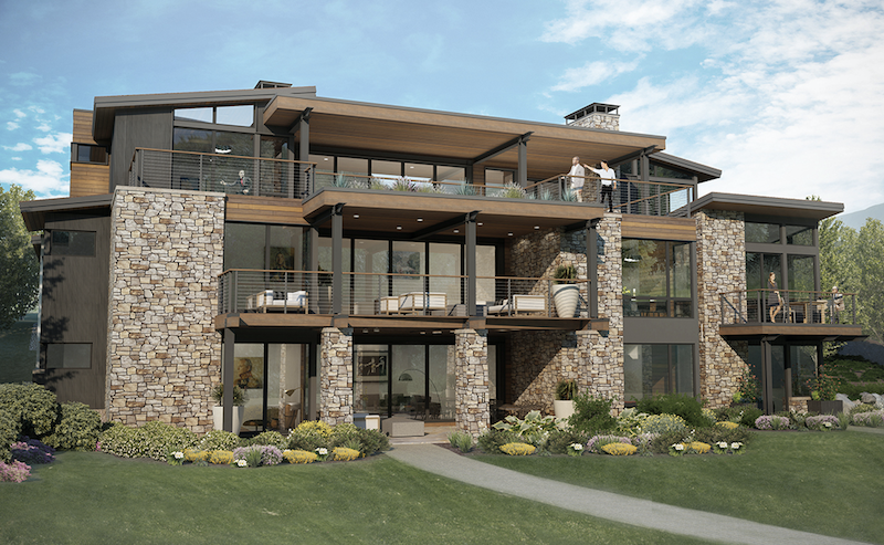 Elevation of DTJ Design's Mountain Triplex showing outdoor living spaces and decks