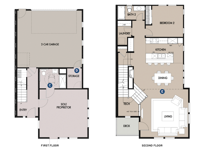 first and second floor plans of the Plan 3 live/work design by Dahlin Group