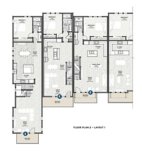 Floor plan 2 for the Prynt townhomes designed by the Dahlin Group