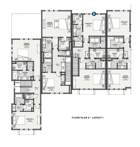 Floor plan 3 for the Prynt townhomes designed by the Dahlin Group